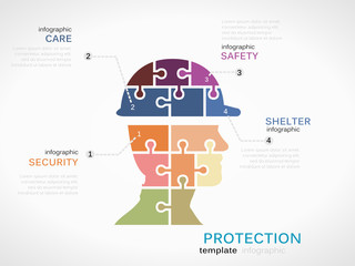 Protection concept infographic template with helmet