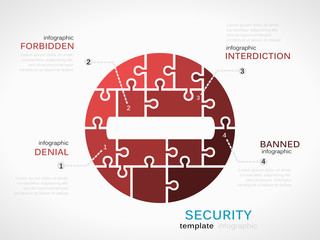 Security concept infographic template with interdiction sign