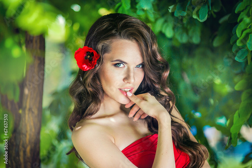 canvas print picture Happy girl closeup portrait in the garden