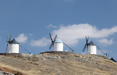 Three traditional windmills in Castilla-La Mancha, Spain
