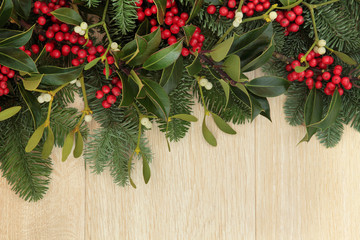 Holly and Mistletoe Border