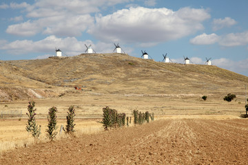Traditional spanish windmills in Castilla-La Mancha, Spain