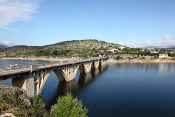 Bridge over Burguillo Reservoir in Iruelas Valley, Spain
