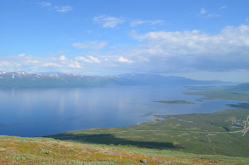 View from mountain Nuolja on Abisko valley and Torneträsk lake
