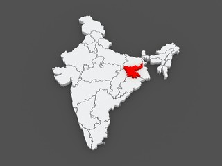 Map of Jharkhand. India.