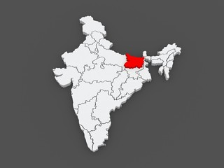 Map of Bihar. India.