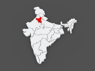Map of Haryana. India.