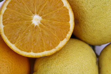 half orange with lemons