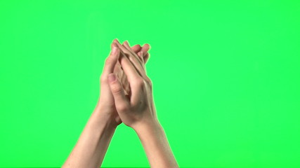 Female hand gestures on green screen
