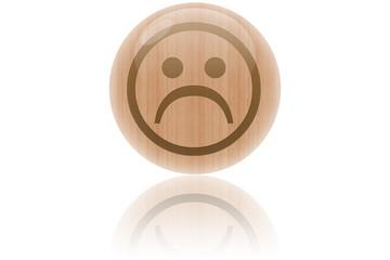"""Bulle de bois """"smiley pas content"""""""