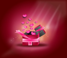 Pink hearts gift