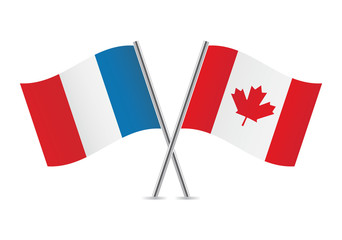 French and Canadian flags. Vector illustration.