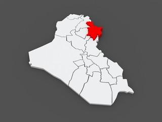 Map of Sulaymaniyah. Iraq.