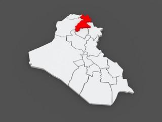 Map of Erbil. Iraq.