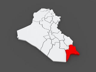 Map of Basra. Iraq.