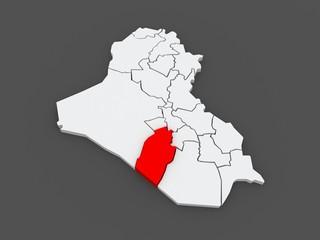 Map of Najaf. Iraq