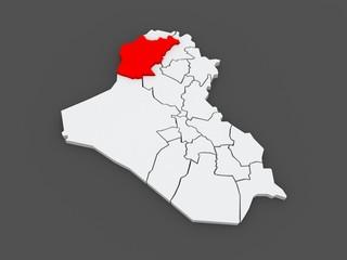 Map of Ninawa. Iraq.