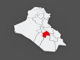 Map of Quadisiya. Iraq.