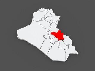 Map of Wasit. Iraq.