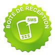 boite de réception sms sur bouton web denté vert