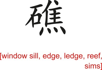 Chinese Sign for window sill, edge, ledge, reef, sims