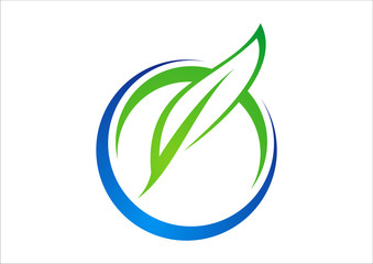 circle ecology from leaf and water logo vector