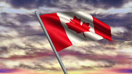 Looping Canadian Flag animation with sky background