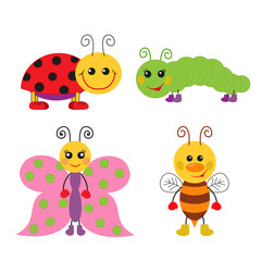 Cute cartoon insect set. Ladybug, bee, butterfly and caterpillar