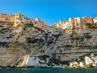 Corsica, France, skyline of Bonifacio from the sea