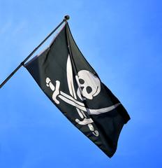 Skull and cross swords flag