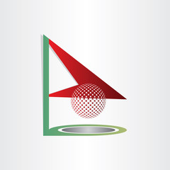 golf flag and ball golf hole abstract design