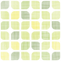 Abstract textile green rounded squares seamless pattern