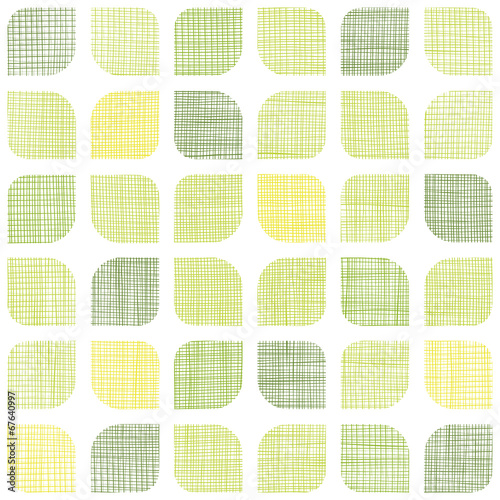 Abstract textile green rounded squares seamless pattern - 67640997