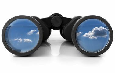 Binoculars Reflecting the Sky