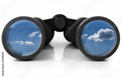 Leinwandbild Motiv Binoculars Reflecting the Sky