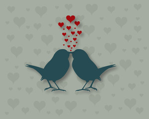 Silhouette of kissing birds