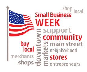 Small Business Week USA, American Flag, shop neighborhood stores