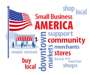 Small Business America, USA flag, shop local Main Street stores