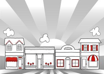 Main Street America, local community shops, stores
