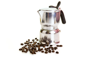 Metal coffeepot with beans on a white background