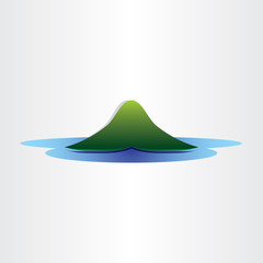 mountain island in ocean abstract symbol design element
