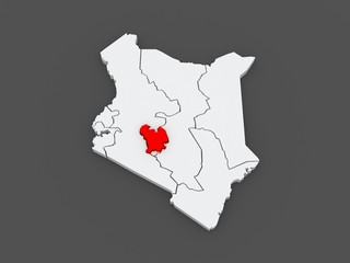 Map of Central. Kenya.