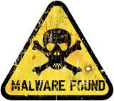malware or computer virus warning sign, vector illustration poster
