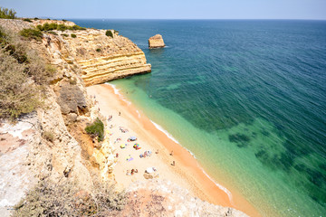 Praia da Marinha lovely hidden beach near Lagoa Algarve Portugal