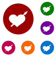 arrow heart set of colorful vector icons and logo symbols