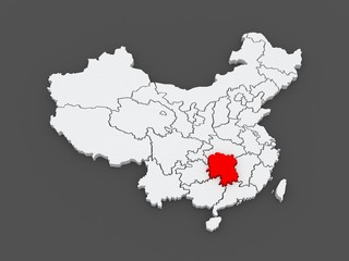 Map of Hunan. China.