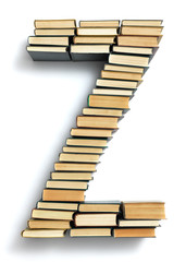 Letter Z formed from the page ends of books