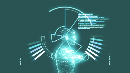 Vitruvian man graphic with interface animation