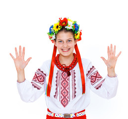 Girl wears Ukrainian national dress