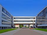 Bauhaus, complex of modern architecture, Dessau, Germany. UNESCO poster